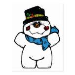 muñeco de nieve feliz de la helada postales