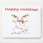 Muñeco de nieve feliz del día de fiesta alfombrillas de raton