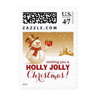 Muñeco de nieve feliz del navidad alegre del acebo sellos postales