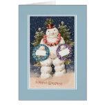 Muñeco de nieve feliz del navidad del vintage tarjeta