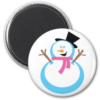 Muñeco de nieve feliz imán redondo 5 cm