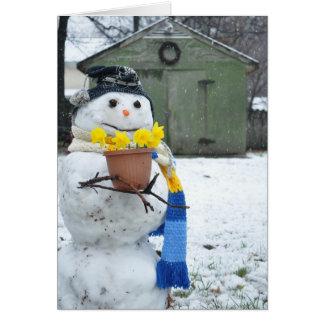 Muñeco de nieve feliz Notecard de la primavera Felicitaciones