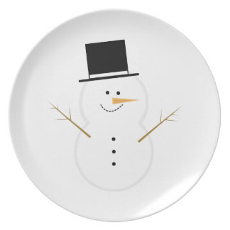 Muñeco de nieve feliz plato