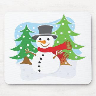 Muñeco de nieve feliz tapetes de raton