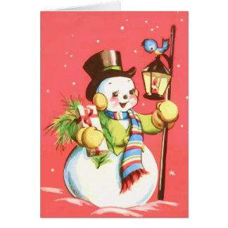 Muñeco de nieve feliz tarjeta de felicitación