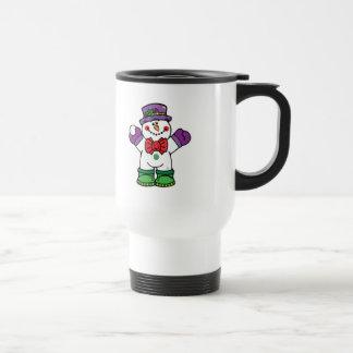 muñeco de nieve feliz tonto taza de café