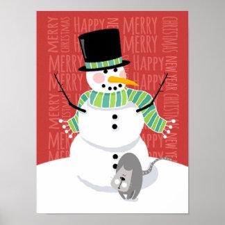 Muñeco de nieve feliz y diseño gris lindo del posters