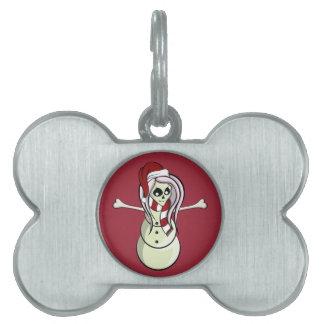 Muñeco de nieve femenino esquelético del navidad placas mascota