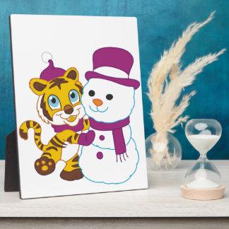 Muñeco de nieve festivo de las Felices Navidad Placas Con Foto