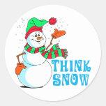 Muñeco de nieve festivo del dibujo animado pegatina redonda