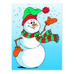 Muñeco de nieve festivo del dibujo animado postal