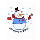 Muñeco de nieve frío de las manoplas postal