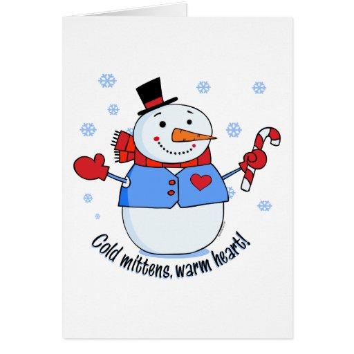 Muñeco de nieve frío de las manoplas tarjetas