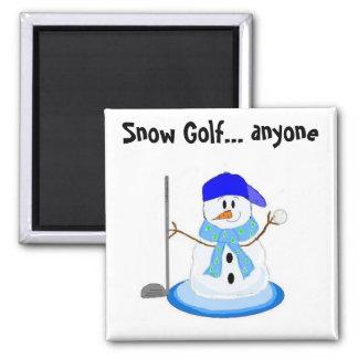 Muñeco de nieve Golfing Imán Cuadrado