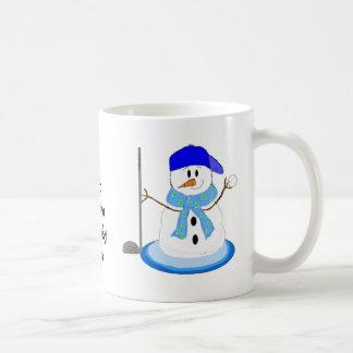 Muñeco de nieve Golfing Tazas De Café