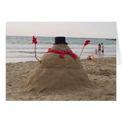 Muñeco de nieve hawaiano tarjeta de felicitación
