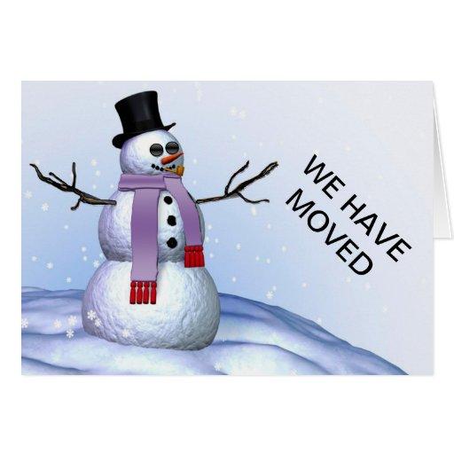 Muñeco de nieve hemos movido la tarjeta de Navidad