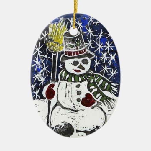 Muñeco de nieve - impresión de bloque adorno navideño ovalado de cerámica