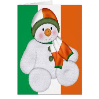 Muñeco de nieve irlandés del navidad tarjeta de felicitación