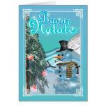 Muñeco de nieve italiano de la tarjeta de las Feli