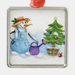 Muñeco de nieve-jardinero ornamente de reyes