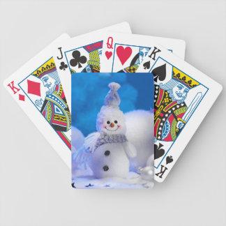 Muñeco de nieve lindo baraja de cartas bicycle