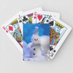 Muñeco de nieve lindo barajas de cartas