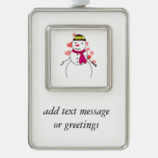 Muñeco de nieve lindo (chica) - pequeño amor marcos de adorno plateado