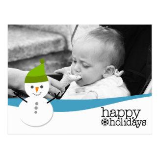 Muñeco de nieve lindo con buenas fiestas y una postales