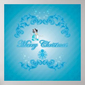 Muñeco de nieve lindo con el fondo azul suave posters