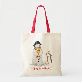 Muñeco de nieve lindo con el navidad que almacena bolsa tela barata