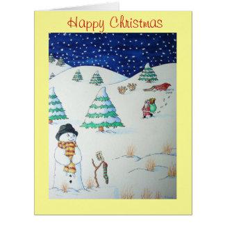 Muñeco de nieve lindo con el navidad que almacena tarjeta de felicitación grande