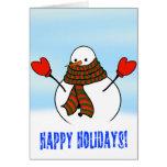 Muñeco de nieve lindo con la bufanda extralarga tarjeta de felicitación