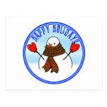 Muñeco de nieve lindo con la bufanda extralarga postal