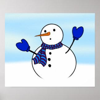 Muñeco de nieve lindo con las manoplas azules posters