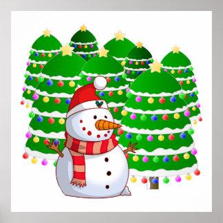 Muñeco de nieve lindo con los árboles de navidad poster