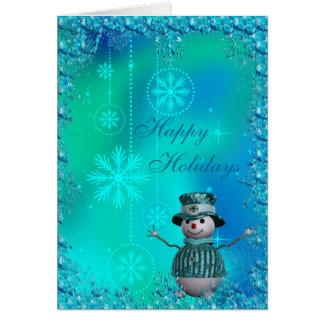 Muñeco de nieve lindo, copos de nieve azules y tarjetas