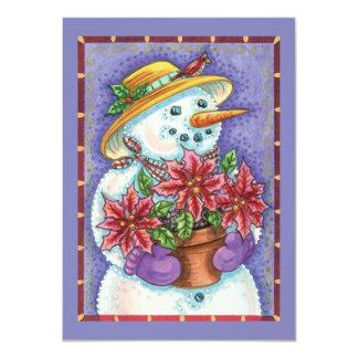 Muñeco de nieve lindo del navidad con el invitación 11,4 x 15,8 cm