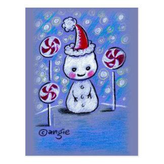 Muñeco de nieve lindo del navidad con estallidos tarjeta postal