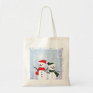 Muñeco de nieve lindo del navidad del país de las  bolsa lienzo