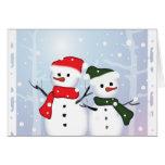 Muñeco de nieve lindo del navidad del país de las  felicitación