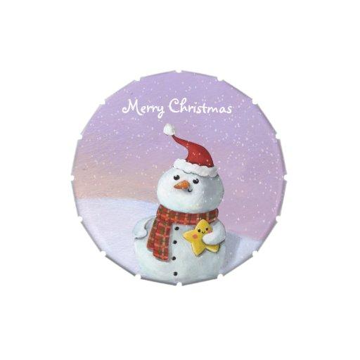 Muñeco de nieve lindo del navidad frascos de caramelos