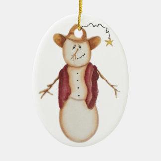 Muñeco de nieve lindo del vaquero del arte popular ornamento para arbol de navidad