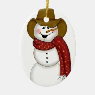 Muñeco de nieve lindo del vaquero del arte popular ornamentos de reyes