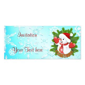Muñeco de nieve lindo e invitación cristalina de