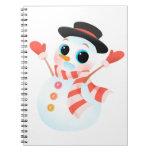 Muñeco de nieve lindo emocionado libretas espirales