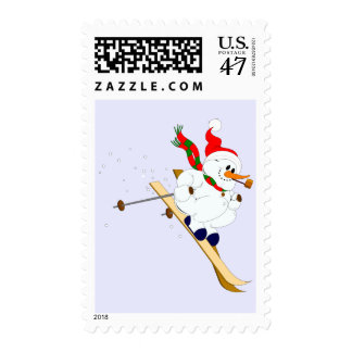Muñeco de nieve lindo en los esquís timbre postal