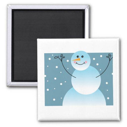 Muñeco de nieve lindo imán cuadrado