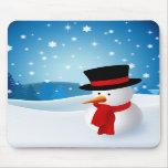 Muñeco de nieve lindo Mousepad Alfombrilla De Raton