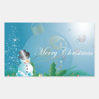 Muñeco de nieve lindo rectangular pegatina